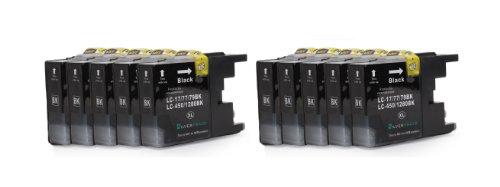 Preisvergleich Produktbild 10x schwarz XL Patronen kompatibel zu Brother LC1280BK für Brother MFC-J5910DW, MFC-J6510DW, MFC-J6710DW, MFC-J6910DW