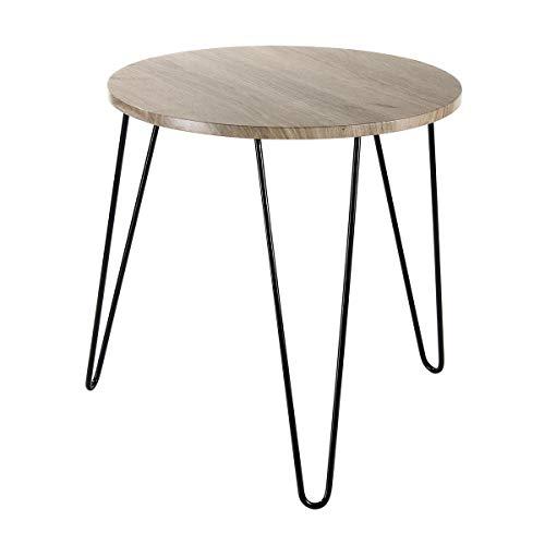 Casâme Table Basse Ronde en Bois Pieds métal