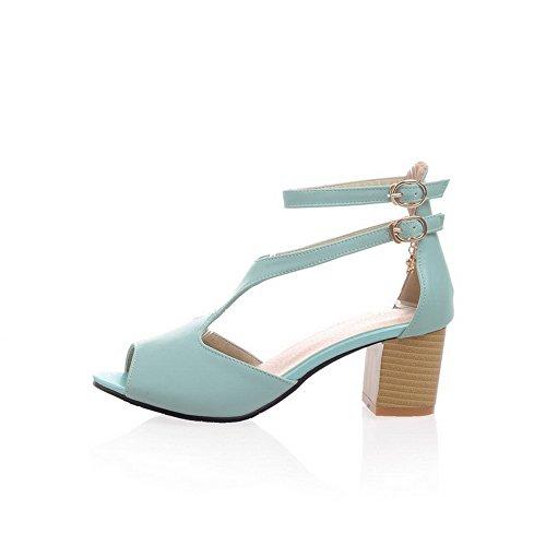 VogueZone009 Donna Luccichio Puro Fibbia Punta Aperta Tacco Medio Sandali Azzurro