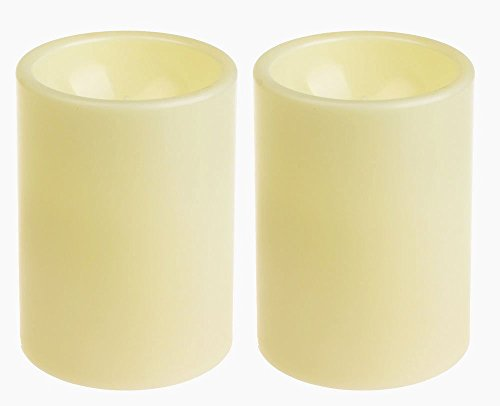 meless Plastic Pillar Led Candle Light With Timer For Indoor and Outdoor,Battery Operated Mood Lighting,Ivory,Pack of 2 (Licht Küchen-timer)