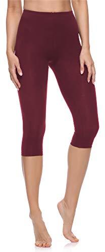 Merry Style Leggings 3/4 Pantaloni Capri Donna MS10-199 (Rosso Vinaccia, S)