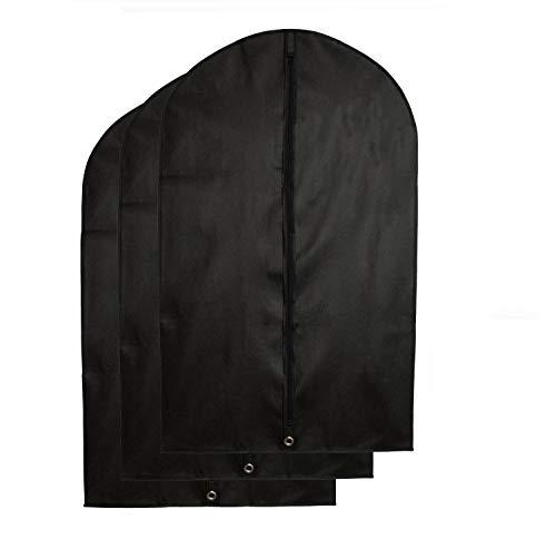Kostüm Damen Einzelne Anzug - TidyOutfit 3X Premium Kleidersack | Atmungsaktive Kleiderhüllen | Hochwertiger Vlies-Stoff | Robuster Reißverschluss | Kleidertasche für Anzug, Sakko, Hemden, Blusen | Schwarz | 100 x 60 cm
