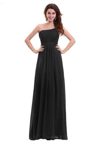 Lemandy robe de soirée mousseline longueur ras du sol épaule asymétrique Noir