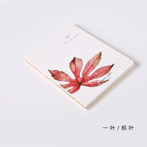 MEICHEN-Cuentas literaria Notepad retro hojas frescas hojas de mano,4-color Maple Leaf Restaurante