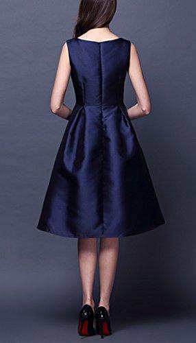 Monissy Femme Robe Swing Élégant Sans Manches Robe Fleur Teinture Mi-longue Cocktail Parfait Pour Party/Soirée Bleu