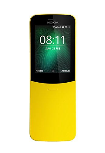 Nokia 8110 4G Dual SIM Mobile Phone with 1500mAH Battery and 2.45-inch Screen (Yellow)