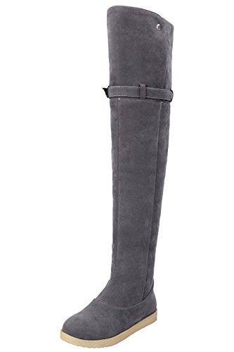Bottes Haute Femme Hiver Chaud Bottes de neige Faux Fourrure Confortable Boucle Chaussures De BIGTREE Gris