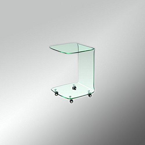 Glas Beistelltisch auf Rollen, Couchtisch eckig aus Glas H 60cm