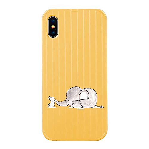 Alsoar Hülle kompatibel per iPhone XS Weiche Schutzhülle,iPhone X Handyhüllenset,Muster TPU Bumper mit Hart Tasche Hülle,Durchsichtig Transparent Stoßfest Design Design (Elefant,Gelb)