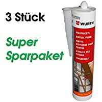 Würth (3 unidades, Pintor de acrílico silicona | gris 310 ml | Ventana verglasung