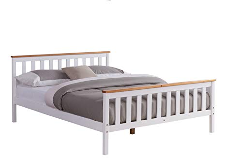 Home Detail Wooden Bed Frame Grey & Pine or White & Oak Contrast Finish (King Size 5FT, White/Oak)