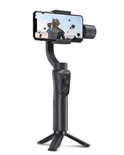 Handy Stabilisator, BlitzWolf 3 Achsen Handy Gimbal Handstabilisator Stabilizer mit Stativ, APP-Steuerung, Automatischer Spur, Zeitraffer, Zoom Steuerung und Auto-Panoramen für iPhone Samsung Huawei