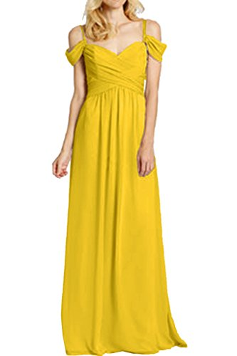 Victory Bridal Herrlich Chiffon Spaghetti-traeger Brautjungfernkleider Abendkleider partykleider Lang Gelb