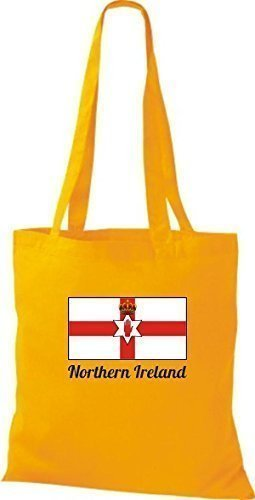 ShirtInStyle Stoffbeutel Baumwolltasche Länderjute Northern Ireland Nordirland Farbe Pink goldgelb