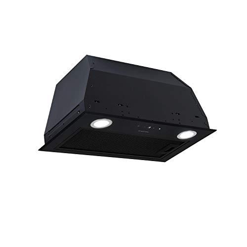 Klarstein Paolo 52 - Hotte aspirante, module ventilateur, largeur 52,5 cm, 600m³/h d'air extrait, 200 W, filtre à graisse, LED, Touch Control, acier inoxydable, recirculation possible, noir