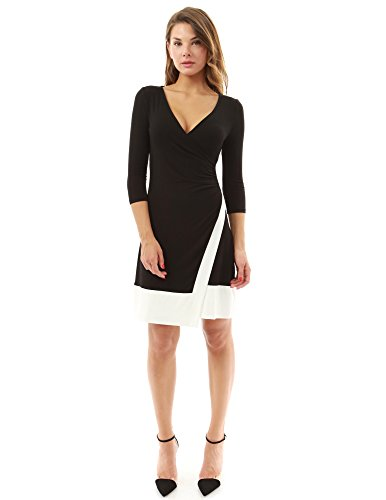 PattyBoutik Women's V Neck 3/4 Sleeve A-Line Wrap Dress (Black and Ivory 14)