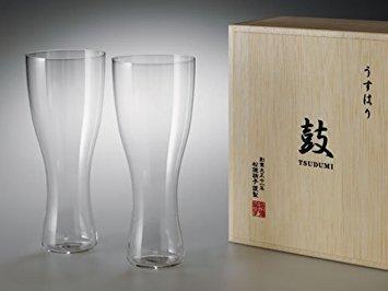 Usuharigurasu Trommel Glas Bier (Pilsner) 2P Holzkasten-Set (Japan-Import) Bier Pilsner Set