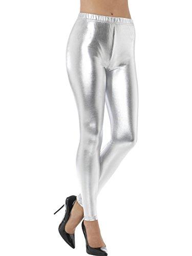 Smiffys, Damen 80er Jahre Metallic Disko Leggings, Größe: 36-38, Silber, 48105 (80er Jahre Aerobic Kostüm Halloween)