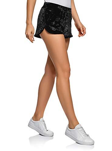 Oodji ultra donna pantaloncini da casa in velluto, nero, it 46 / eu 42 / l