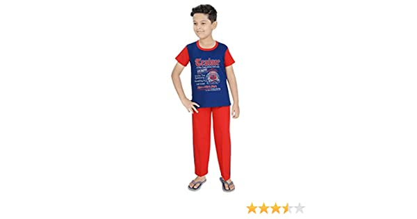 58bed12a230 Ginessa Boys Half Sleev Multi Colour Cotton top Bottom Printed Night Suit  Set Sports Wear Set  Amazon.in  Clothing   Accessories