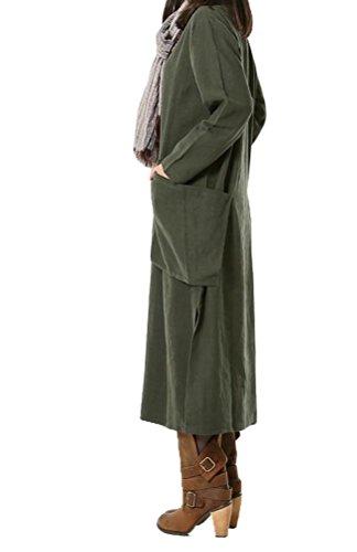 Vogstyle Femme robe manches longues col V avec grande poche Vert
