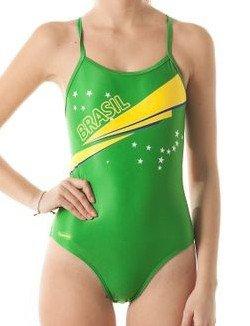 Damen Kostüm Für Brasilien - SwimmerWear Kostüm Training Damen Openback Brasilien XL