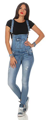 5070 Fashion4Young Damen Jeans Latzhose Röhrenjeans Latzjeans Slimline Damenlatzhose (XS=34, blau)