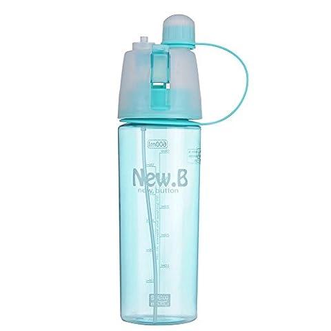 NEW Mignon Sport bouteille d'eau avec vaporisateur pour enfants étudiants Espace Tasse Bouteille pour Sports Workout 2tailles L Bleu - Bleu