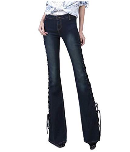 Dark Denim Flare Jeans (CuteRose Women's Cozy Denim Pants Washed Fashional Strappy Flare Jeans Dark Blue M)