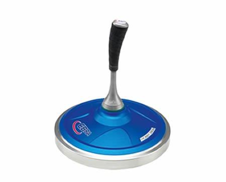EBRA Hobby Eisstock Set 3,8 kg (blau), Kompaktstiel, Winterlaufplatte schwarz (schnell)