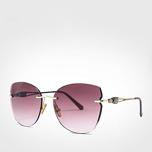 LXXSSRA Sonnenbrille Luxusmarke Cat Eye Sonnenbrille Frauen Strass Randlose Sonnenbrille Mädchen Mode Brille Sonne Uv400 Braun Sonnenbrille