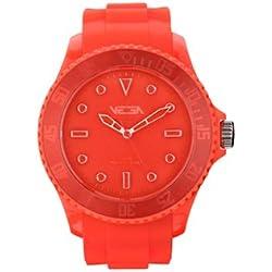 Vega Unisex Quartz Watch with Orange Dial Analogue Display and Orange Silicone Strap VEGWATORG