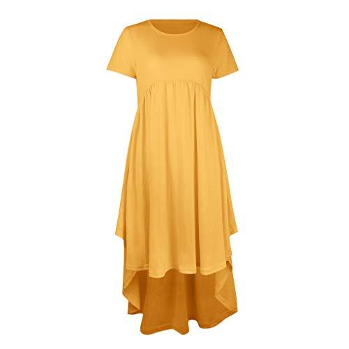 tandskleid - Kurzarm - Sommerkleid für Schwangere,Mutterschaft Kleid - Frauen Mutterschaft Schwangerschaft Oansatz Kurzarm Solide Unregelmäßigkeit Rüschen Kleid ()