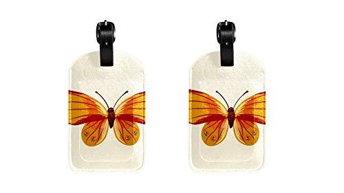 EIN Schmetterling 038 Kofferanhänger Koffer Leder Gepäckanhänger 2 Stück Namensschild Adresse Tag Flugzeug Gepäckanhänger Visitenkartenhalter Kartenpaket 7x11.4cm