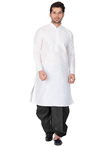 Vastramay Men White Cotton Silk Kurta and Dhoti Pant Set