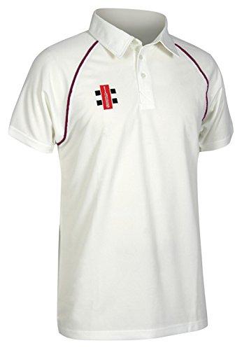 Gray-Nicolls-Matrix cricket camicia-Senior, Maroon Trim, XSmall (36.5 inch)