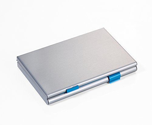 Preisvergleich Produktbild TROIKA ZWEI-FACH KARTENETUI- CDC36/BL - Visitenkartenetui mit 2 Öffnungen - mit Trennwand - für ca. 21 eigene/fremde Visiten-/Kreditkarten - Aluminium - matt - titan/blau - das TROIKA-Original