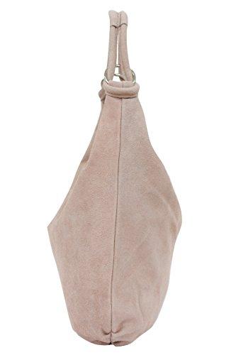 AMBRA Moda Damen Wildleder Schultertasch Damen Handtasche Hobo-Bags Shopper Beuteltaschen Veloursleder Suede Ledertasche DIN-A4 42cm x 35cmx 4cm WL803 Nude Rosa