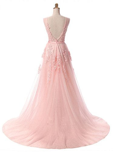 Eudolah Damen Abendkleid A-Linie langes Tuell Ballkleid Brautjungfer Cocktail Party Kleid Hell-Rosa