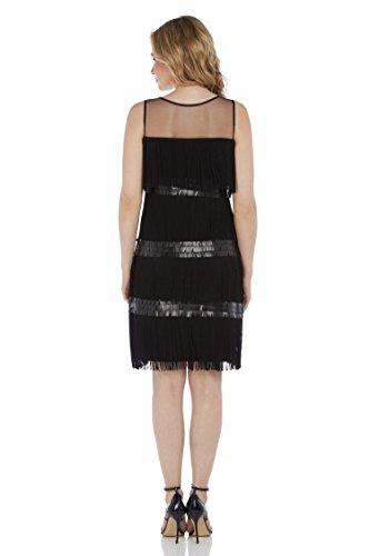 Roman Originals Damen Kleid - Elegantes Fransenkleid Mit Pailletten Party Ausgehabend - Schwarz Knielang Große 38 Bis 48 Schwarz
