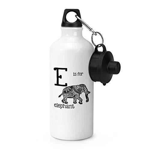 Dozili Trinkflasche mit Buchstabe E is Elephant aus Edelstahl, auslaufsicher, 53,3 ml, Weiß