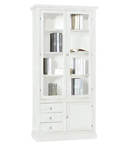 Spazio Casa Libreria in Legno 2 Ante vetrate + 3 cassetti + Anta Chiusa - Bianco Opaco