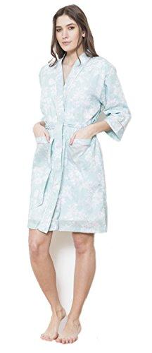 f3d2655373af6 Cotton Real - Robe de Chambre - Femme - Vert - Large