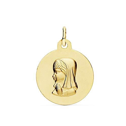 Medalla Oro 18K Virgen Niña 16mm. Lisa Mate Relieve [Ab9364Gr] - Personalizable - Grabación Incluida En El Precio