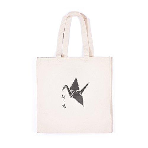 64235d2a4 Borsa Di Tela Stampata – Origami Carta Gru Uccello Calligrafia Carina –  Origami Paper Crane Japanese
