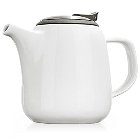 Tealyra - Daze - Théière en Céramique Blanc - Ceramic Teapot White - 700ml (2-3 cups) - Small Stylish High-Fired Ceramic Teapot with Stainless Steel Lid and Extra-Fine Infuser To Brew Loose Leaf Tea - Dishwasher-safe - BPA Free