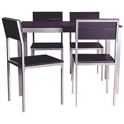 Conjunto de mesa + sillas Xobe, para comedor, salon o cocina en color negro y gris, tanto para sillas como mesa, fabricado en madera y con una resistente estructura metálica