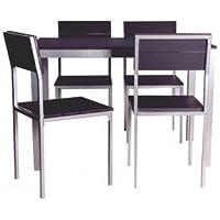 Conjunto de mesa + sillas Xobe, para comedor, salon o cocina en color negro y gris, tanto para sillas como mesa, con una resistente estructura metálica