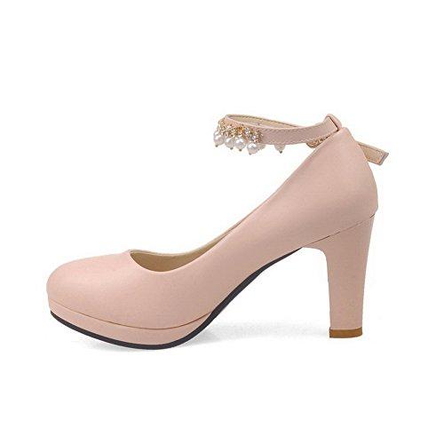 VogueZone009 Femme Rond Boucle Pu Cuir Couleur Unie à Talon Haut Chaussures Légeres Rose