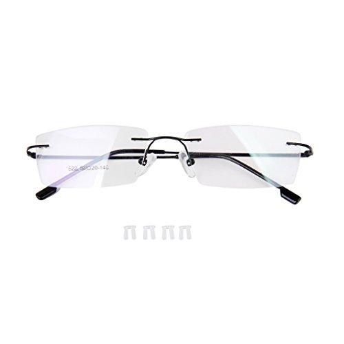 Metall Lesebrille randlos Brillenfassung Rimless Eyeglasses Schwarz